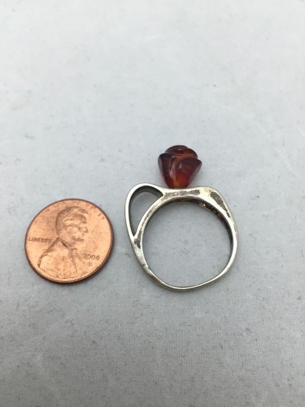 ROSE SHAPED Amber Lady's Ring 925 Silver 3dwt Size:8