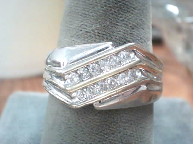 Gent's Silver-Diamond Ring 14 Diamonds .14 Carat T.W. 925 Silver 3.6dwt