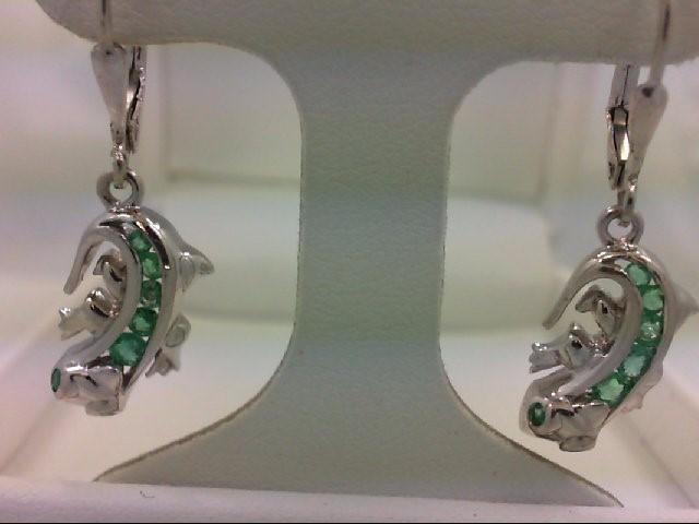 Synthetic Green Stone Silver-Stone Earrings 925 Silver 3.7g