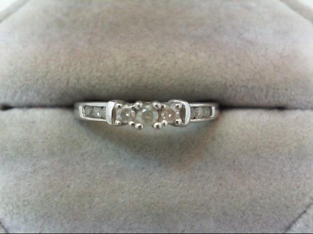 Lady's Diamond Engagement Ring 9 Diamonds 0.25 Carat T.W. 10K White Gold 1.8g