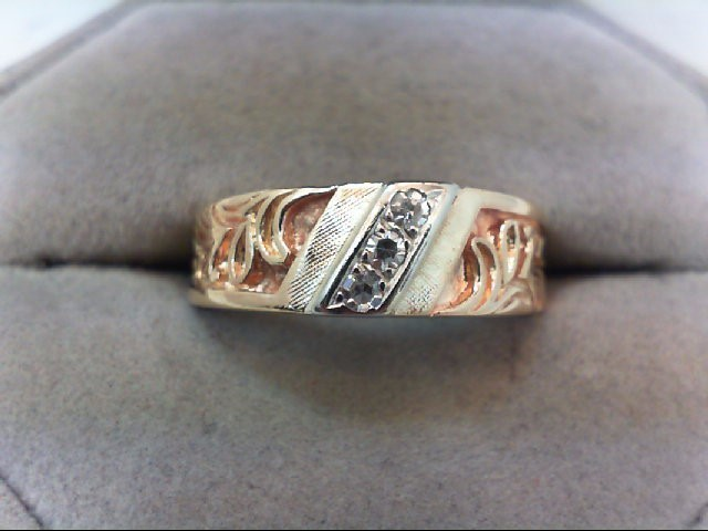 Gent's Gold-Diamond Wedding Band 3 Diamonds .09 Carat T.W. 14K Yellow Gold 5.8g