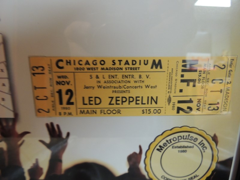 LED ZEPPELIN 1980 Unused Concert Ticket Matted Ltd. Ed.