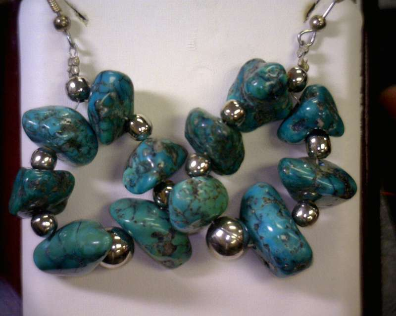 Turquoise Silver-Stone Earrings 925 Silver 19.3dwt