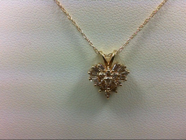 Gold-Multi-Diamond Pendant 20 Diamonds 0.28 Carat T.W. 14K Yellow Gold 2.3g
