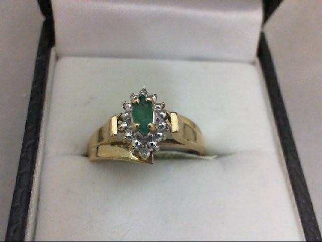 Emerald Lady's Stone & Diamond Ring 2 Diamonds 0.02 Carat T.W. 10K Yellow Gold 2