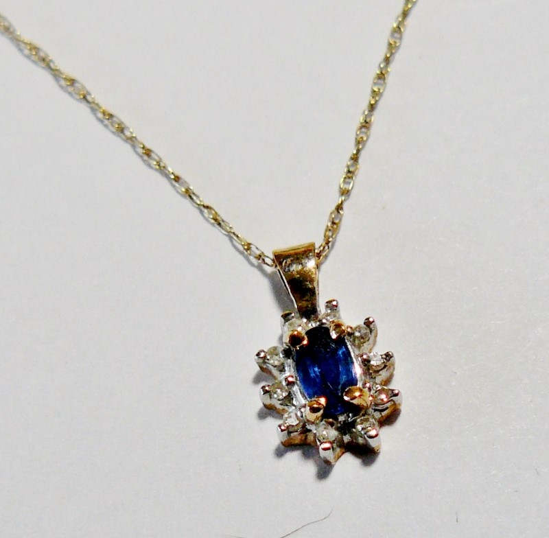 "18"" Sapphire Surrounded by Diamonds Necklace 10 Diamonds .10 Carat T.W."