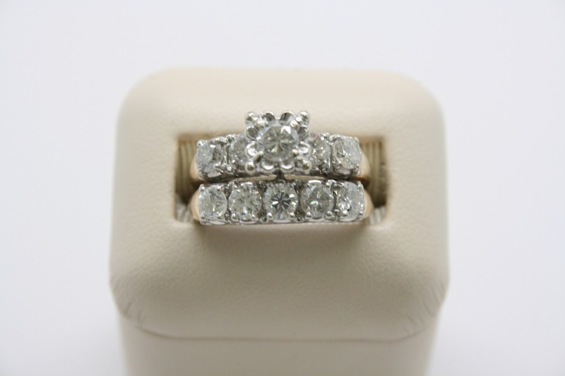ANTIQUE STYLE DIAMOND WEDDING SET 14K YELLOW GOLD