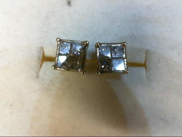Gold-Diamond Earrings 8 Diamonds 0.56 Carat T.W. 10K Yellow Gold 1.3g