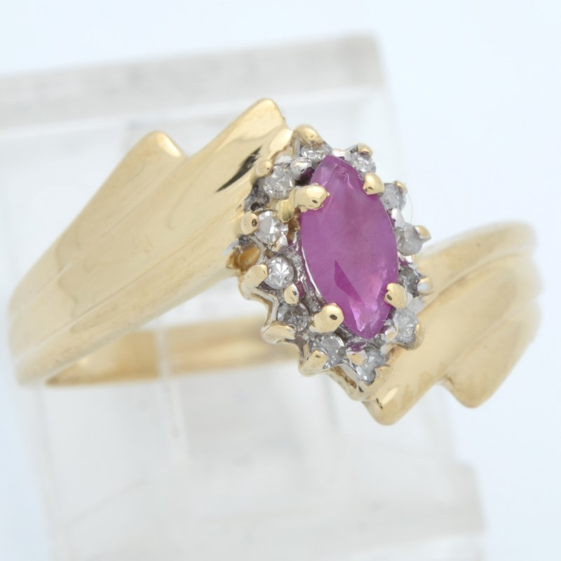 ESTATE RUBY RED DIAMOND RING SOLID 14K GOLD MARQUISE HALO SET SZ 6.5