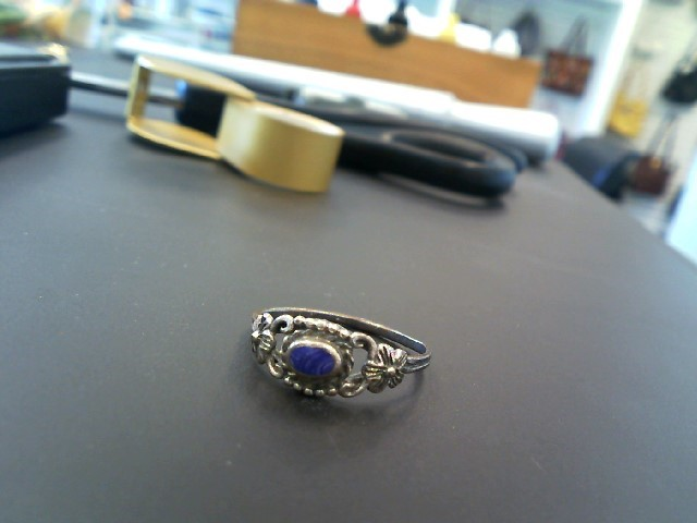Synthetic Purple Stone Lady's Silver & Stone Ring 925 Silver 1.5g Size:8