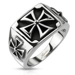 STAINLESS STEEL TRIPLE CELTIC CROSS DESIGN CAST RING