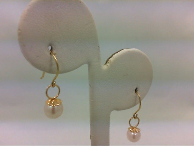 Pearl Gold-Stone Earrings 10K Yellow Gold 0.9g