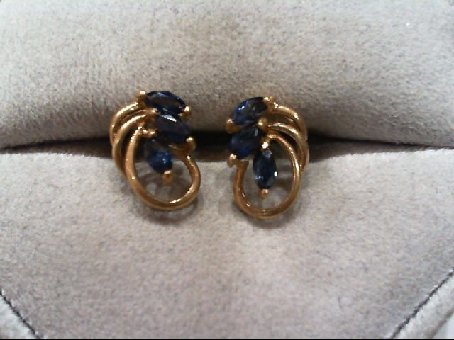 Sapphire Gold-Stone Earrings 14K Yellow Gold 1.1g