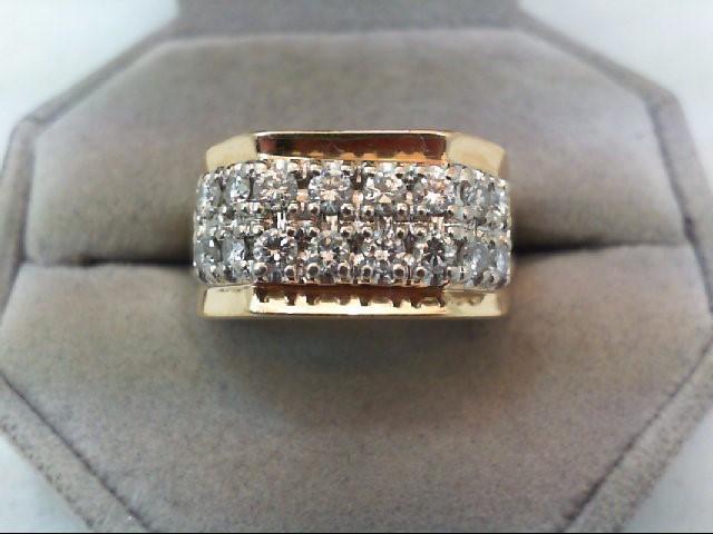 Gent's Diamond Fashion Ring 16 Diamonds 1.60 Carat T.W. 14K Yellow Gold 9.3g