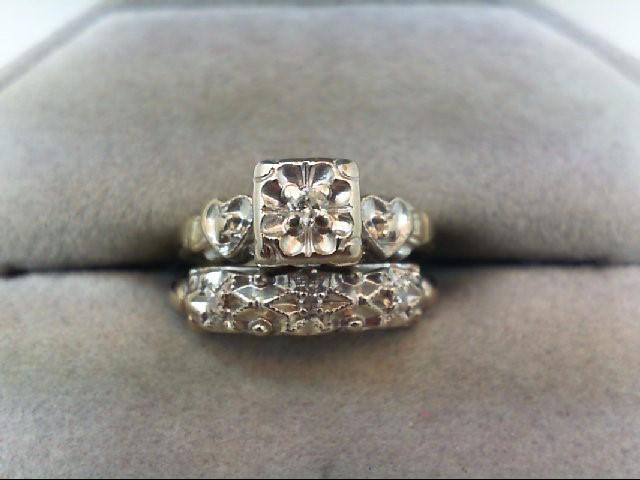 Vintage Lady's Diamond Wedding Set 6 Diamonds .09 Carat T.W. 14K White Gold 3.7g