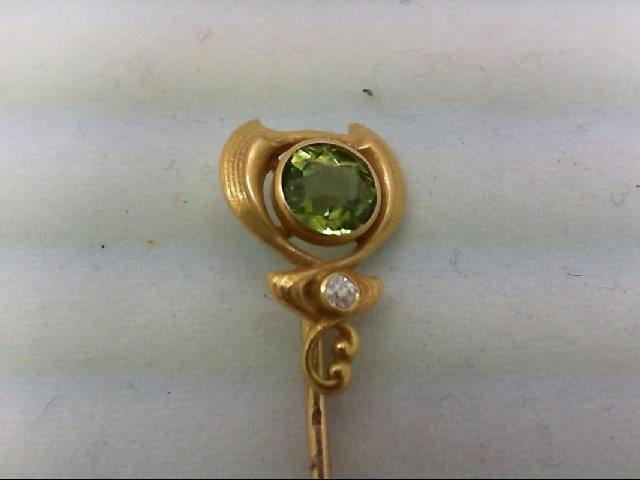 Peridot Gold-Diamond-Stone Brooch .05 CT. 14K Yellow Gold 1.5g