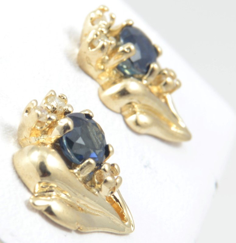 VINTAGE SAPPHIRE DIAMOND EARRINGS SOLID REAL 14K GOLD CLUSTER FLOWER