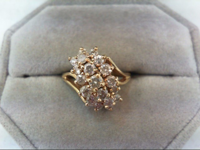 Lady's Diamond Cluster Ring 19 Diamonds 1.16 Carat T.W. 14K Yellow Gold 4.7g