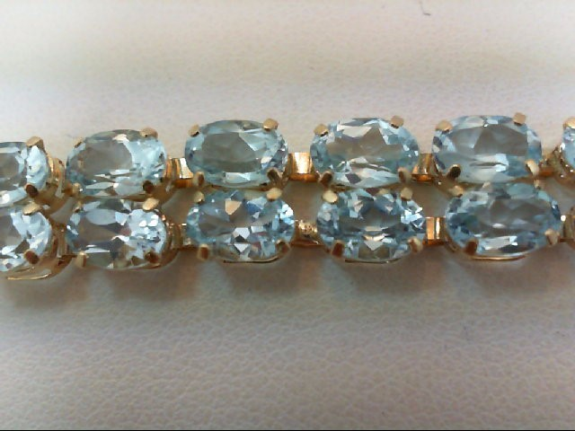 Blue Topaz Gold-Stone Bracelet 14K Yellow Gold 12.6g