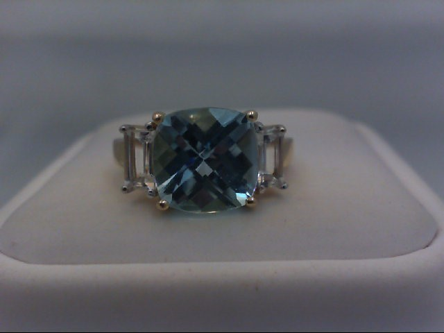 Blue Topaz Lady's Stone Ring 10K Yellow Gold 3.9g