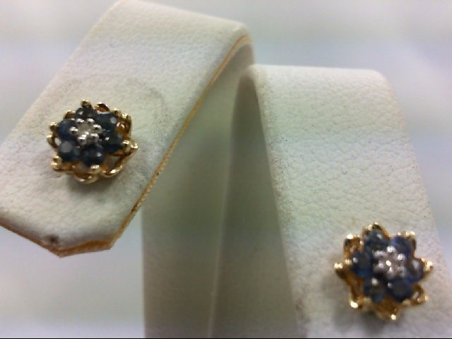 Sapphire Gold-Diamond & Stone Earrings 2 Diamonds 0.02 Carat T.W. 10K Yellow Gol