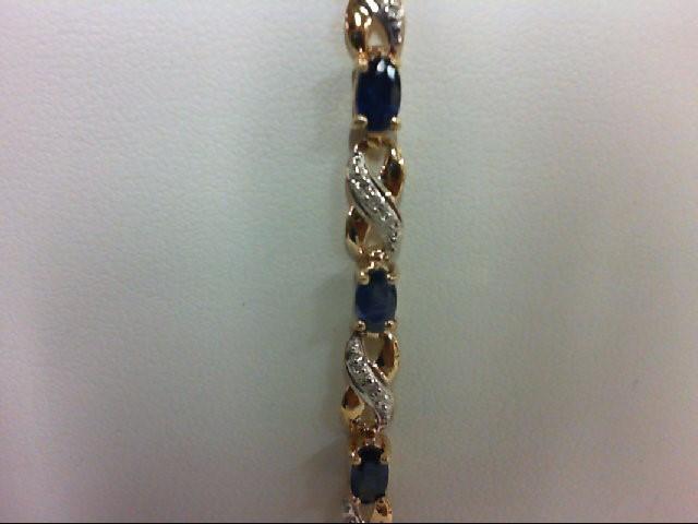 Sapphire Gold-Diamond & Stone Bracelet 14 Diamonds 0.14 Carat T.W. 10K Yellow Go