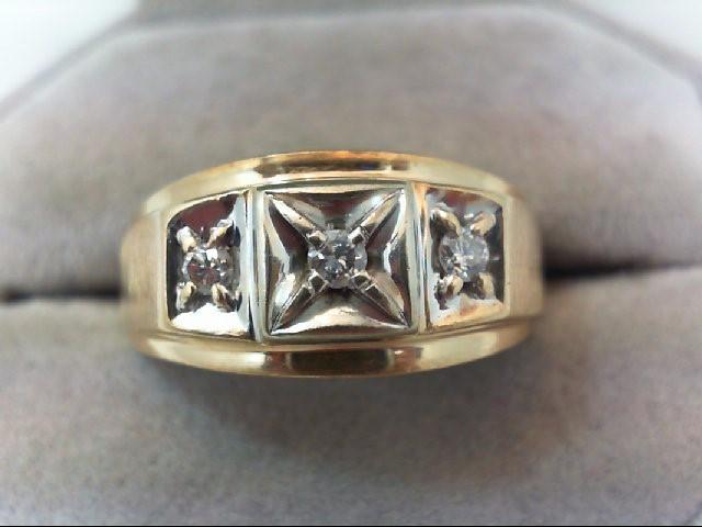 Gent's Gold-Diamond Wedding Band 3 Diamonds .24 Carat T.W. 10K Yellow Gold 6.5g
