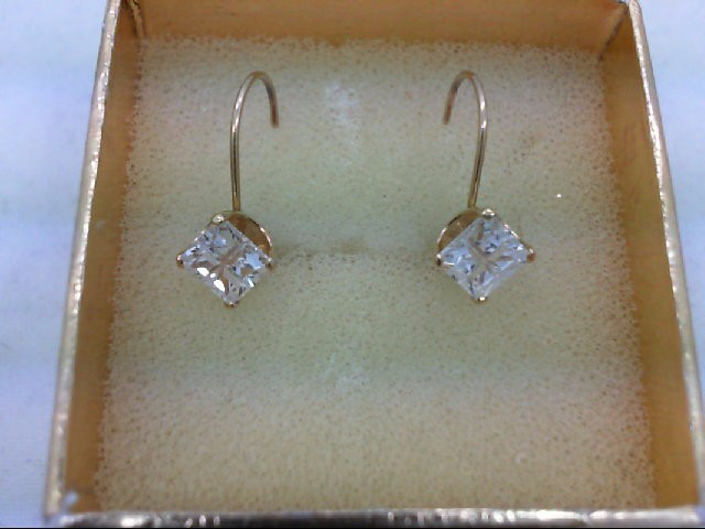 Cubic Zirconia Gold-Stone Earrings 14K Yellow Gold 1.3g