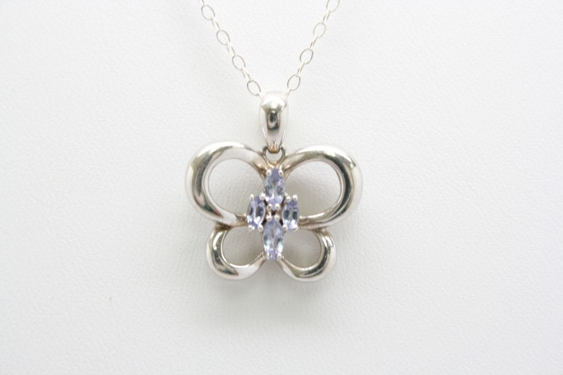 SILVER BUTTERFLY WITH TANZANITE PENDANT