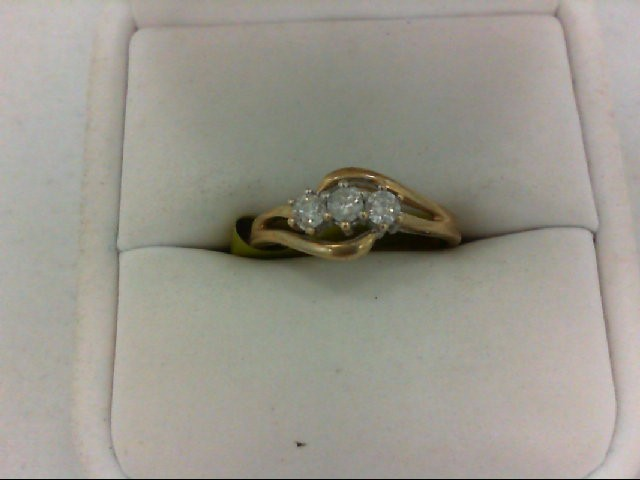 Lady's Diamond Wedding Band 3 Diamonds 0.3 Carat T.W. 10K Yellow Gold 2g Size:7