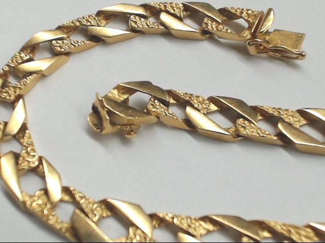 Gold Figaro Bracelet 14K Yellow Gold 14.6g