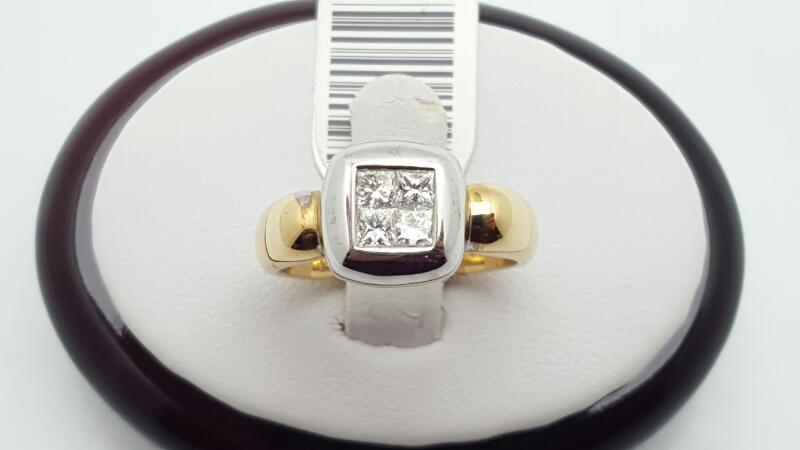 Lady's Diamond Fashion Ring 4 Diamonds 0.5 Carat T.W. 14K 2 Tone Gold 5g Size:7