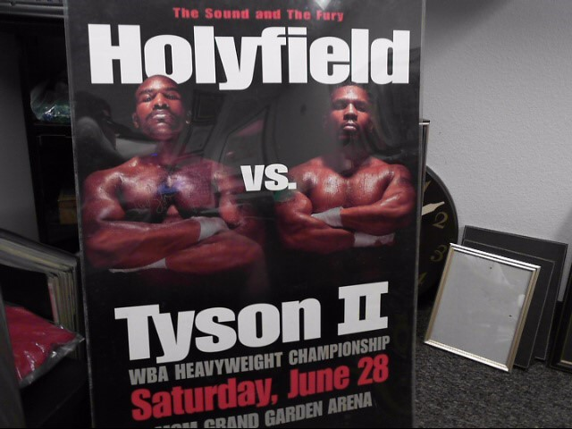 MIKE TYSON & EVANDOR HOLYFIELD AUTOGRAPHED POSTER FROM MGM FIGHT JUNE 28 1997