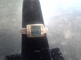 Synthetic Aquamarine Lady's Stone & Diamond Ring 32 Diamonds .80 Carat T.W.