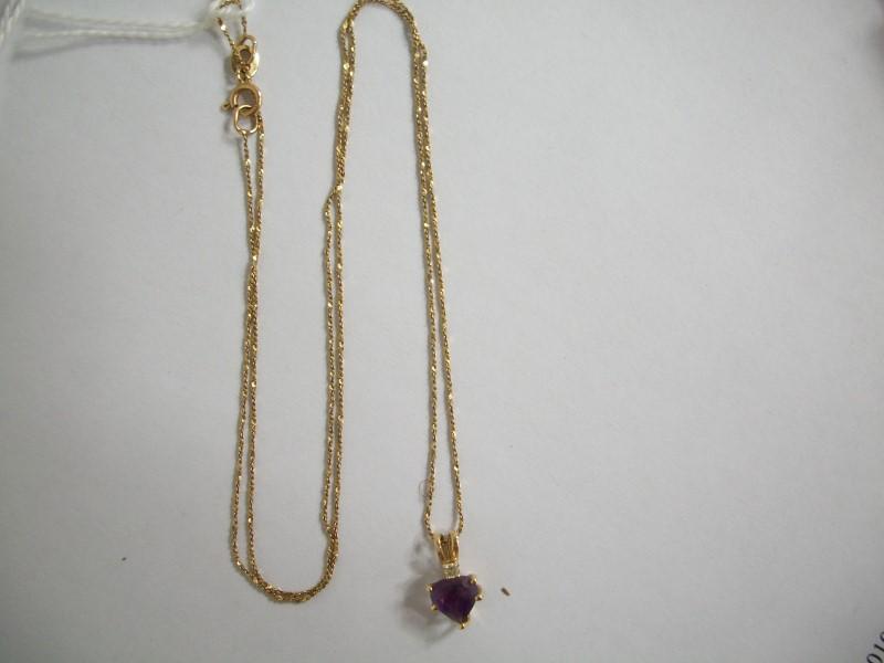 "18"" Diamond Necklace .01 CT. 14K Yellow Gold 1.14g"