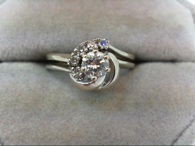 Lady's Diamond Wedding Set 6 Diamonds .55 Carat T.W. 14K White Gold 4.3g