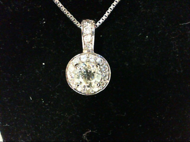 Gold-Multi-Diamond Pendant 18 Diamonds .84 Carat T.W. 14K White Gold 4.14g