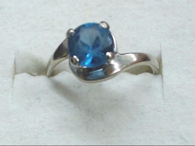 Blue Stone Lady's Stone Ring 10K White Gold 1.5g Size:5