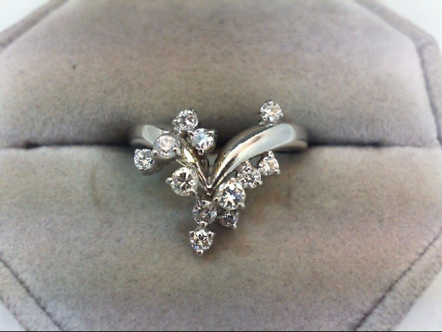 Lady's Diamond Cluster Ring 12 Diamonds .57 Carat T.W. 14K White Gold 4g