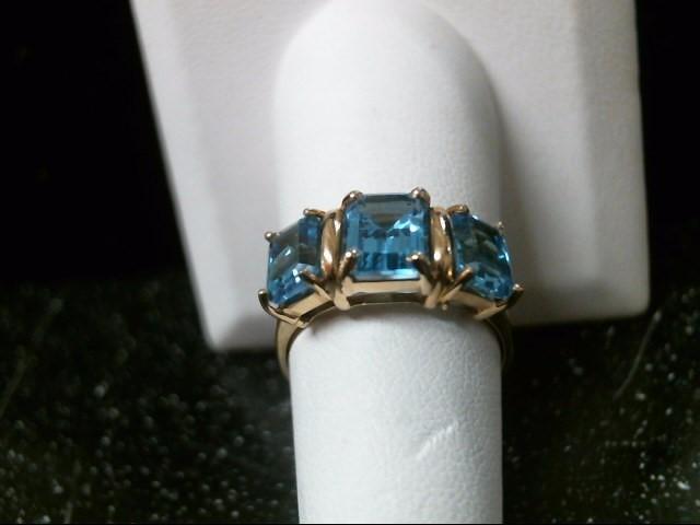 Synthetic Aquamarine Lady's Stone Ring 14K Yellow Gold 4.1g Size:8