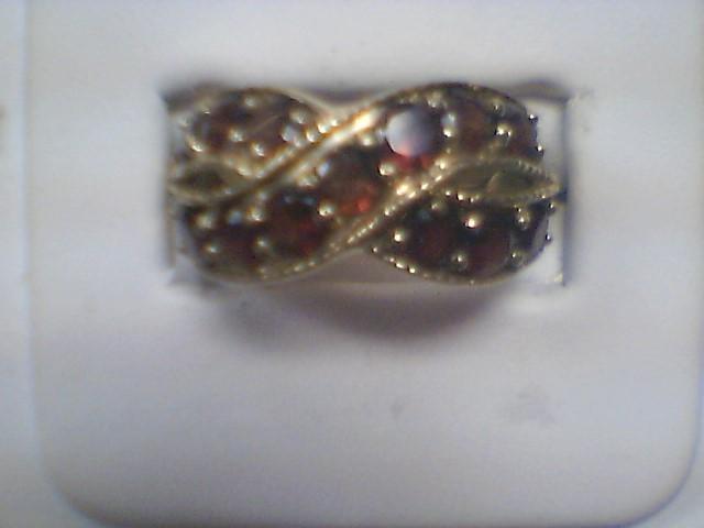 Almandite Garnet Lady's Stone Ring 10K White Gold 4.8g Size:8