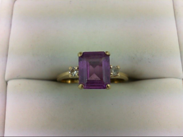 Pink Sapphire Lady's Stone Ring 10K Yellow Gold 1.9g Size:5.5