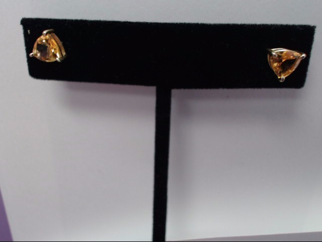 Citrine Gold-Stone Earrings 14K Yellow Gold 1.2g