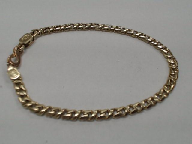 "7"" 14K CUBAN LINK STYLE GOLD BRACELET"
