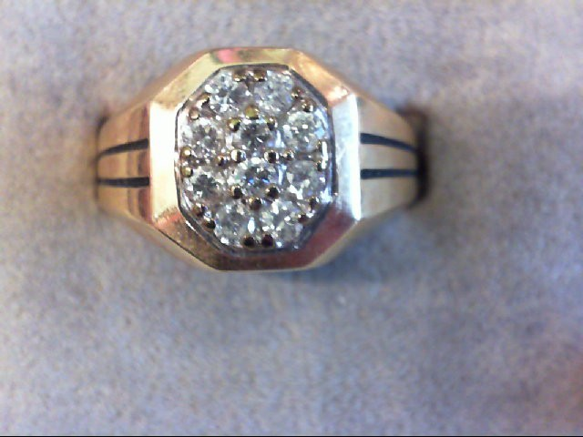 Gent's Diamond Cluster Ring 10 Diamonds .50 Carat T.W. 14K Yellow Gold 7.6g