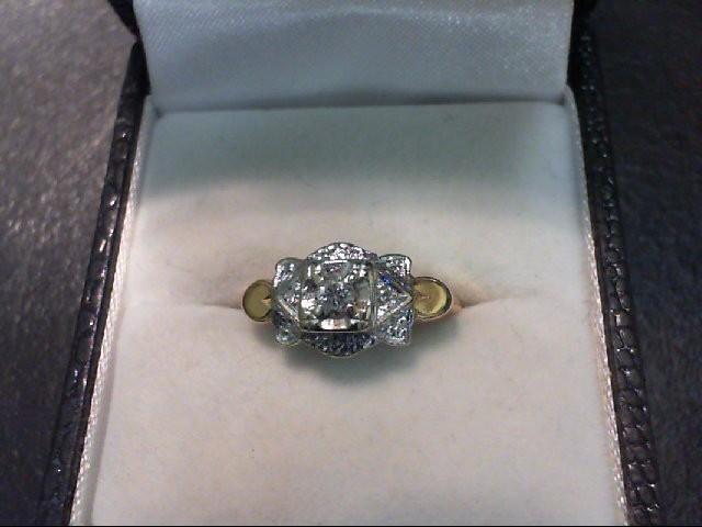 Lady's Diamond Engagement Ring 3 Diamonds .12 Carat T.W. 14K Yellow Gold 2.7g