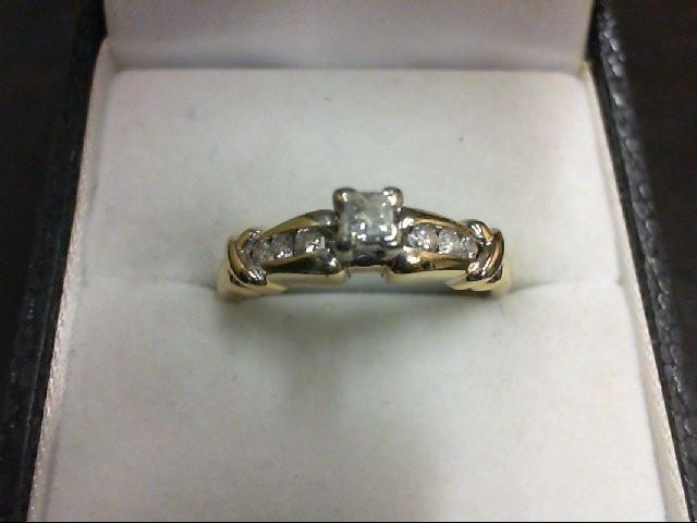 Lady's Diamond Engagement Ring 7 Diamonds 0.36 Carat T.W. 10K 2 Tone Gold 3g