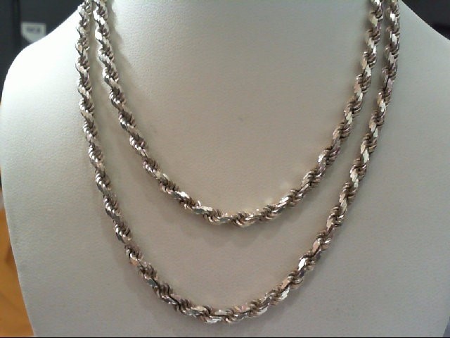 "23"" Silver Rope Chain 925 Silver 24.4g"