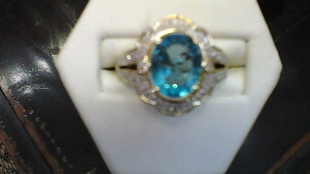 Blue Stone Lady's Stone & Diamond Ring 25 Diamonds .25 Carat T.W.