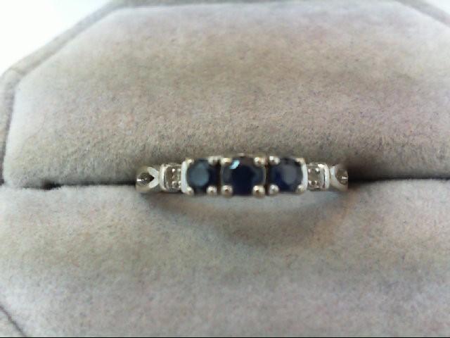 Sapphire Lady's Stone & Diamond Ring 2 Diamonds .02 Carat T.W. 10K White Gold